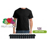12 X FRUIT OF THE LOOM T-SHIRTS 100% KATOEN Zwart